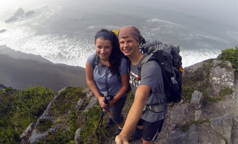 Erika Courtney on her first backpacking trip