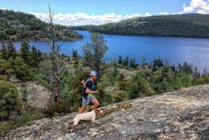 Michael Burke trail running with Barley